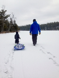 Sled on Lake
